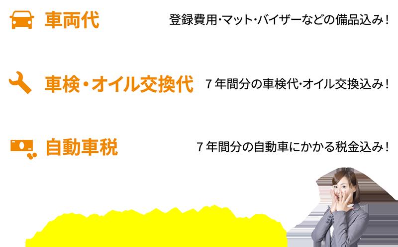7年間の自動車にかかるすべての費用が月々10,000円(税別)〜!